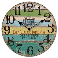 keep calm and drink wine Rustic Wall Clocks, Farmhouse Wall Clocks, Wood Clocks, Vintage Wood, Vintage Decor, License Plate Crafts, Pallet Clock, Art Deco Watch, Keep Calm And Drink