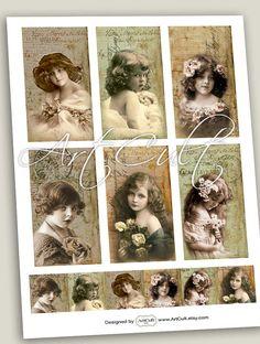 Printable Download YOUNG VINTAGE MODELS Digital Collage by ArtCult