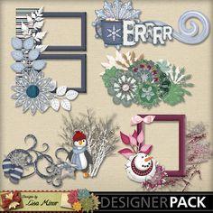 Flaky Friends Digital Scrapbook Cluster Pack, snowman cluster, frame cluster, winter cluster, mittens, penguin, cluster frames