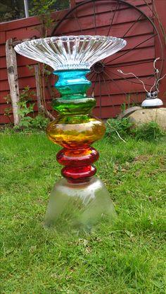 merles glass art bird bath