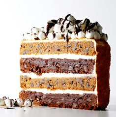 No campfire required for this S'Mores Layer Cake #BiteMeMore #recipes