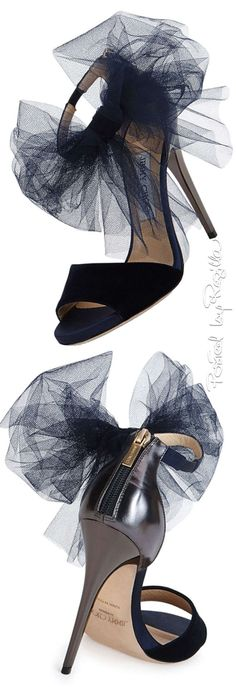 Jimmy Choo ~ Black Suede + Leather Sandal Heel w Tulle Bow Detail 2015