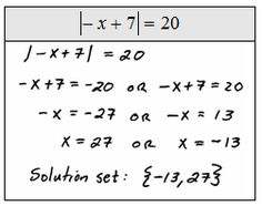 Step 1 isolate the absolute value step 2 identify the case and apply the usual steps for solving to obtain the absolute value alone on one side fandeluxe Images