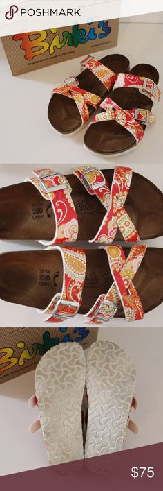 Birki's Red Paisley Nepal Sandals Worn about 5x, still in great shape with lots of use left! No holes. Comes from a smoke free environment. Measurements to be added. Birkenstock Shoes