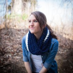Striped crochet cowl, scarf, infinity scarf, snood, chunky knit, navy, blue, white. $30.00, via Etsy.