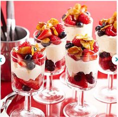 Berry Cheesecake Parfaits Layers of Brie and cream cheese puree, fresh berries, and toasted almonds stack up to beautiful -- and surprisingly low-cal -- brunch parfaits.