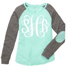 Preppy Ladies Woman Teen Long Sleeve Tshirt With Elbow Patch Vinyl... ($20) ❤ liked on Polyvore featuring tops, t-shirts, black, women's clothing, black long sleeve t shirt, vinyl top, black long sleeve top, monogram t shirts and monogrammed long sleeve t shirt