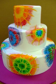 A tie dye cake fit for a tie dye wedding! by Brooke Weeber