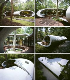 The exterior curves of this remote retreat arc around a central tree which strong informs the space shaped in the interior courtyard area. While this curious form makes for an interesting visual object it also informs how people move in, through and around it – in arcing, organic and naturalistic paths left by the voids inside and out.