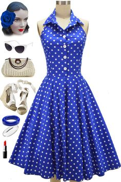 "Brand New style at Le Bomb Shop! We call it the ""Doo Wop Darling Sun Dress"" and its adorable! Collared Halter neckline, buttoned bodice and full skirt.. Only $38, free U.S. shipping &, available in 3 colors! Buy it here: http://lebombshop.net/search?type=product&q=doo+wop+darling+sun+dress&search-button.x=0&search-button.y=0"