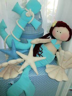 Sereia de tecido para decoracao ... #mermaid #sereismo