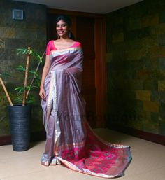 ZL040-5 Ash colour chanderi saree with self print pallu <3
