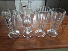 Soda Fountain Glasses, Set of Four Missmatched by CottageWelcome on Etsy