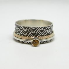 Asian Inspired Water Pattern Sterling Silver and 10k Gold Spinner Ring with Citrine Stone