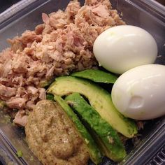 Great snack idea and easy meal prep! Wild Planet Tuna, Hard Boiled Eggs, Avocado and Mustard.