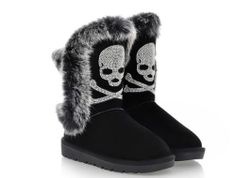 Womens Real Leather Rabbit FUR Trim Diamante Skull Snug Snow Boots Shoes 5860 | eBay