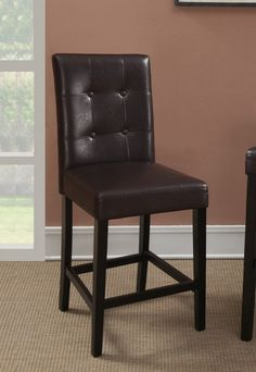 Set of 2 espresso finish wood and dark brown faux leather counter height bar chairs