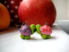 turtles in love polymer earrings