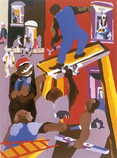 """Jacob Lawrence -  """"This is my genre...the happiness, tragedies, & the sorrows of mankind as realized in the teeming black ghetto."""" – Jacob Lawrence www. biography.com › People http://www.cs.washington.edu/building/art/JacobLawrence/"""