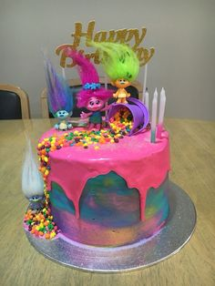 Trolls watercolor birthday drip cake - LOVE all the bright colors on this birthday cake.