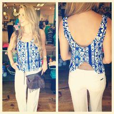 Aztec cobalt & white top $29 / white linens pants .....downtoearthboutique.com