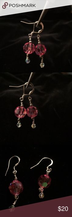 Earrings. Swarovski crystal & sterling silver NWOT Artisan made delicate earrings by Histabell. Pink and clear Swarovski Crystals AB,  and sterling silver. Histabell Jewelry Earrings