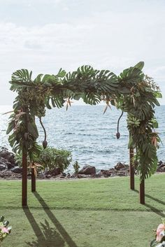 Say I Do's Underneath This Tropical Bohemian Inspired Arch by Moana Events Wedding Reception Design, Tent Wedding, Elope Wedding, Elopement Wedding, Bohemian Wedding Decorations, Wedding Ceremony Decorations, Ceremony Backdrop, Tahiti Wedding, Kauai Wedding