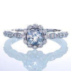 Feminine Aquamarine Diamond Curly Flower Halo Engagement Wedding Gift Something Blue Ring
