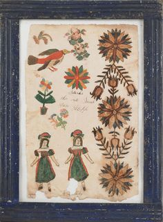 "Pennsylvania watercolor and ink on paper drawing, 19th c. with female figures, bird, and stylized flowers, inscribed ""Starks this write Sarah Ann Klopp"" in an unusual blue painted tin frame, 13"" x 8 1/4""."