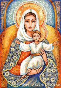 Heavenly Grace, Madonna and Child Mary Jesus Mother, Blessed Mother Mary, Divine Mother, Mary And Jesus, Christian Paintings, Christian Art, Catholic Art, Religious Art, Virgin Mary Painting