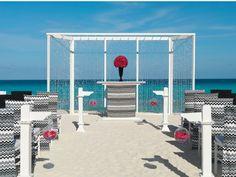 Rocker Chic beach wedding set up at Hard Rock Cancun.