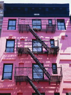 size: Photographic Print: Pink Facade and Stairs in Soho, New York Poster by I Vanderharst : Artists Pink Houses, Old Houses, Dream Houses, Soho, Yosemite National Park, National Parks, New York Poster, Fire Escape, New York Photos