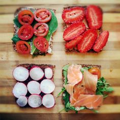 Hmm toastjes met tomaat, radijs, zalm of aardbei!
