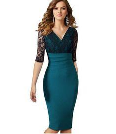 Elegant Bodycon Dresses Cotton Blend Lace 1/2 Sleeve Hide Hip High Waist Pencil Dresses S 2xl Knee Length Sheath Dresses Women Dresses Dress For Women Prom Gowns From Janet521, $21.63| Dhgate.Com