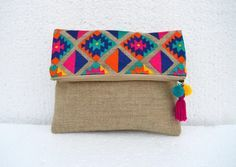 VLiving Boho Vibrant Multicolor Embroidered Kilim Pattern Linen Fabric Moroccan Foldover Clutch x 8 in. Linen Bag, Linen Fabric, Cotton Fabric, Foldover Clutch, Clutch Bag, Sacs Tote Bags, Embroidery Bags, Boho Bags, Love Sewing