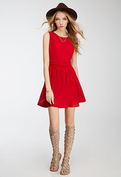 Another fab red dress option for Valentine's Day! (Chiffon Fit & Flare Dress | FOREVER21 - 2000138543)