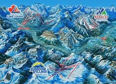 Ski trail maps for Banff Canada's Lake Louise, Sunshine Village and Mt. Banff-Lake Louise offers skiing and riding for all abilities. Ski Banff, Lake Louise Ski Resort, Ski Canada, Sunshine Village, Canadian Travel, Canadian Rockies, Ski And Snowboard, Ski Ski, Mountain Tattoo