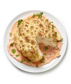 Whole Roasted Cauliflower With Harissa Yogurt