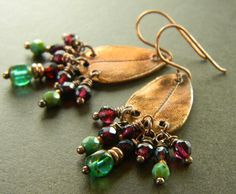 Copper Leaf Earrings Garnet Green OOAK by ChrysalisToo on Etsy, $49.00
