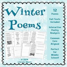Warm up your winter with poetry analysis! Students analyze 12 winter poems on a variety of reading levels so you can customize this activity to fit your needs! Authors include Frost, Dickenson, Bronte, Updike, Dunbar, Akhmatova, Lawson, Stevenson, Williams, and more! Full text of all poems included, as well as a writing assignment, 2 grading rubrics, and CCSS included!