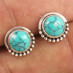 TURQUOISE (S) Gems 1 Pair 925 Sterling Silver Ethnic Design Stud Post Earrings #Unbranded #Stud