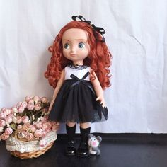 """New Disney Animator's Collection 16"""" Black Dress + HairPin Baby Doll Clothes #Disney"""