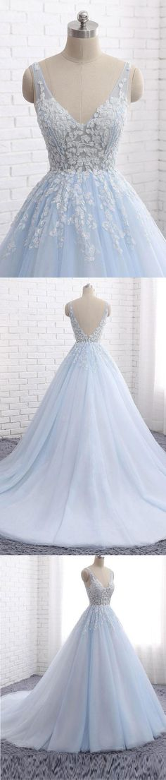 Real Picture Light Blue Off the Shoulder V Neck Backless Prom Dresses Evening Formal Dress LD1001 #laurashop #promdresses #promdress #lightbluepromdresses #backlesspromdresses #vneck #lace