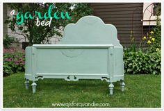 Bed painted with Annie Sloan Duck Egg