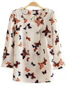 To find out about the White Long Sleeve Butterfly Print Chiffon Blouse at SHEIN, part of our latest Blouses ready to shop online today! Blouse Styles, Blouse Designs, Vestidos Nancy, Butterfly Print Dress, Orange Butterfly, Vintage Butterfly, Frocks For Girls, Whimsical Fashion, Print Chiffon