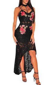 d43ddcfaeee472 Mode Black Lace Floral Embroidery Choker Neck High Low Dress ChicLike.com  Formele Jurken