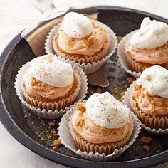 Easy Pumpkin Pie Cupcakes.  1 recipeWhipped Cream Frosting or purchased whipped white frosting.     1/2 teaspoon ground cinnamon.     Orange food coloring.     Crushed graham crackers.     1 recipe Pumpkin Cupcakes or 12 pre-made cupcakes.