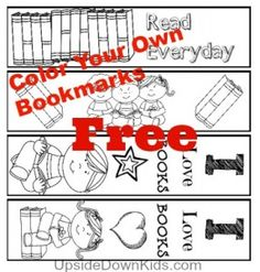 Free Color Your Own Reading Bookmarks