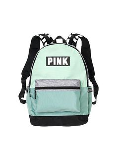 NWT Victoria's Secret PINK Campus Backpack Seafoam Glow Mint Gray Marl RARE in Clothing, Shoes & Accessories, Women's Handbags & Bags, Backpacks & Bookbags Black And White Backpacks, Black And White Bags, Green Backpacks, Vs Pink Backpack, Backpack Bags, Fashion Backpack, Laptop Backpack, Mochila Jansport, Victoria Secret Rucksack
