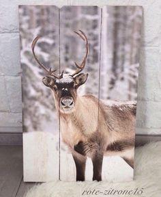 Wand Paneel MDF Bild Motiv Hirsch Holz Flur Garderobe Weihnachten Geschenk Neu  | eBay